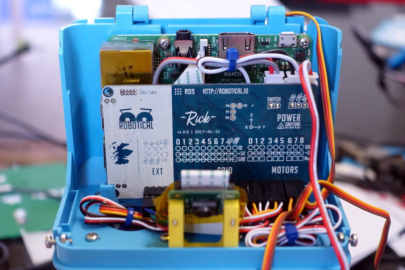 Inside Marty's head, showing a mounted Raspberry Pi